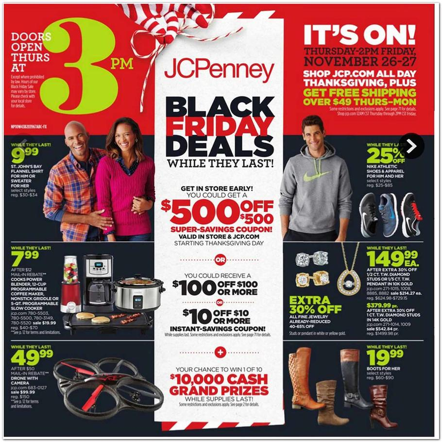 Walmart's main Black Friday action starts the night before Thanksgiving with an online sale that kicks off at 10 p.m. EST. The in-store sales start at 6 p.m. local time Thanksgiving Day.