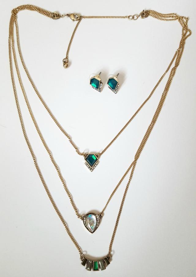 Emerald Necklace & Earring Jewelry Set