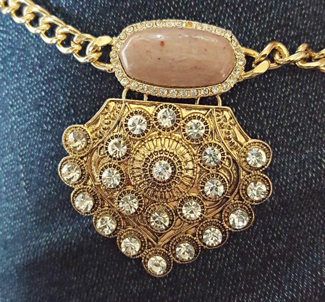 Camilla Mauve Statement Necklace Detail